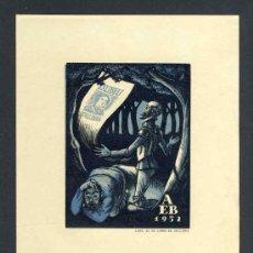 Arte: EX-LIBRIS DE A.E.B CON ILUSTRACION DEL QUIJOTE. Lote 53198357