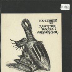 Arte: EX LIBRIS - MANUEL BASSA I ARMENGOL -(X-485). Lote 30773653