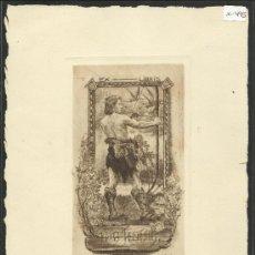 Arte: EX LIBRIS - FRITZ JENTSIR - AGUAFUERTE -MED. 19 X 27 CM.-(X-495). Lote 31339343