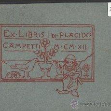 Arte: EX LIBRIS - PLACIDO CAMPETTI - (X-796). Lote 35644090