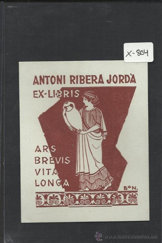 EX LIBRIS - ANTONI RIBERA - BON - (X-804) (Arte - Ex Libris)