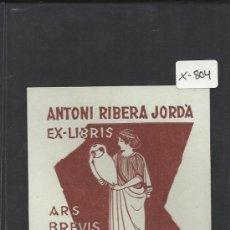 Arte: EX LIBRIS - ANTONI RIBERA - BON - (X-804). Lote 35644328