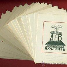 Arte: LOTE DE MAS DE 100 EX LIBRIS , EXLIBRIS , ANGEL BATLLE , TINTA VERDE OSCURO , ORIGINAL. Lote 36923469