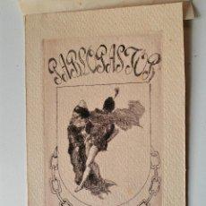 Arte: EX-LIBRIS ORIGINAL GRABADO AL AGUAFUERTE POR PABLO PASTOR, PINTOR MADRILEÑO!. Lote 43830464