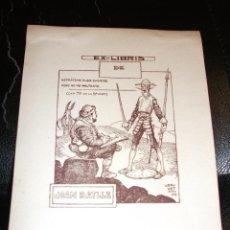 Arte: EX LIBRIS CERVANTINO DE BRUNET 1922 CERVANTES QUIJOTE EXLIBRIS. Lote 47618955