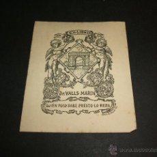 Arte: EX LIBRIS DR. VALLS MARIN ARCO DE BARA TARRAGONA 1947. Lote 43982935