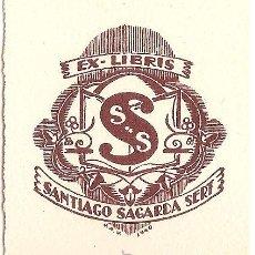 Arte: 11) EX-LIBRIS DE JOAN ANGLADA I VILLÀ PER A SANTIAGO SAGARDA SERT – 1940. Lote 47537777