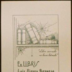 Arte: BOOKPLATE. EX-LIBRIS PARA LUIS SIERRA BERMEJO, POR RICARDO ABAD. 1943. RATÓN, TELARAÑA, LIBRO. Lote 50112209