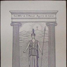 Arte: BOOKPLATE. EX-LIBRIS PARA D. MANUEL AGUIRRE DE CÁRCER, POR RICARDO ABAD. 1943. PALAS ATENEA. Lote 50112371