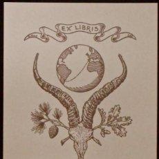 Art: EX LIBRIS PARA BENITO LLORENTE TORROBA, POR RICARDO ABAD (SIN AÑO). CUERNOS GACELA, GLOBO TERRÁQUEO. Lote 50142934
