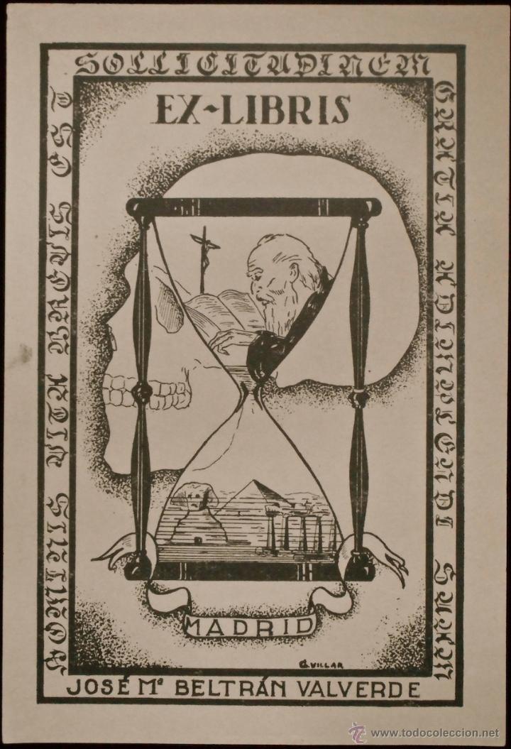 BOOKPLATE. EX-LIBRIS PARA JOSÉ Mª BELTRÁN VALVERDE, POR VILLAR (Arte - Ex Libris)