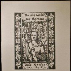 Arte: BOOKPLATE. EX-LIBRIS PARA JOSÉ VARONA. Lote 50194572