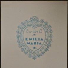 Arte: BOOKPLATE. EX-LIBRIS PARA EMILIA MARÍA. Lote 50194697