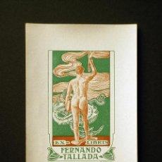 Arte: EX LIBRIS DE ALEXANDRE CARDUNETS PARA FERNANDO TALLADA. 1909. Lote 139682629