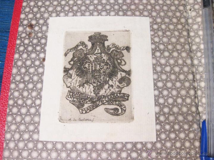 Arte: PASTAS CON EL EX LIBRIS DEL MARQUES DE CERRALBO. GRABADO DE M. DE CARDONA. - Foto 2 - 54168697