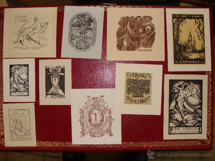 LOTE DE 10 EX-LIBRIS F. AZORIN, ZARAGOZA. RIU, ORGA, ROMO, CASTILLO. 1947-48 (Arte - Ex Libris)