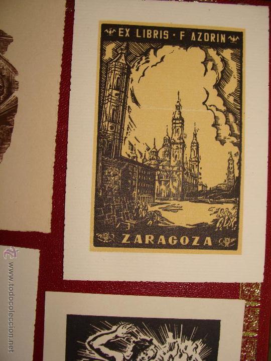 Arte: LOTE DE 10 EX-LIBRIS F. AZORIN, ZARAGOZA. RIU, ORGA, ROMO, CASTILLO. 1947-48 - Foto 4 - 54184113