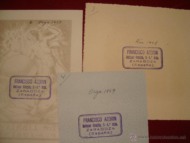 Arte: LOTE DE 10 EX-LIBRIS F. AZORIN, ZARAGOZA. RIU, ORGA, ROMO, CASTILLO. 1947-48 - Foto 8 - 54184113