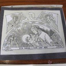 Arte: FELICITACIÓ DE NADAL I EX LIBRIS NADALENC ORIGINAL DE JOSEP DE RIQUER. Lote 55029386