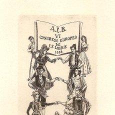 Arte: EX-LIBRIS DE JULIO FERNÁNDEZ SAEZ PRESENTADO EN EL CONCURSO DEL VI CONGRESO EUROPEO - BARCELONA 1958. Lote 55572805