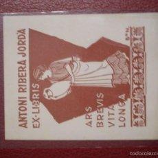 Arte: EX-LIBRIS ANTONI RIBERA JORDÀ 8 X 10 CM- PORTAL DEL COL·LECCIONISTA***. Lote 57147699