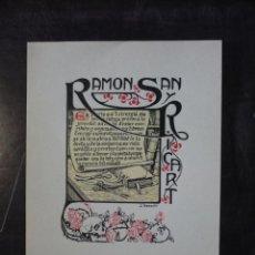 Arte: EXLIBRIS MODERNISTA REALIZADO POR J. RENART, DE RAMON SANT Y RICART, ORIGINAL SIN USAR BARCELONA. Lote 57909329