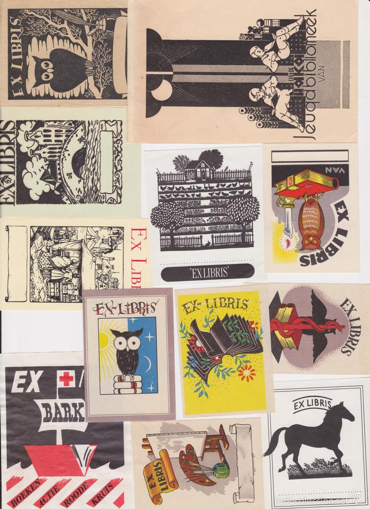 12 EXLIBRIS (MEDICINA, FARMACIA, COMERCIO, PINTURA, CABALLOS, PAISAJES, LECTURA, ETC... (Arte - Ex Libris)