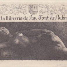 Arte: EX LIBRIS. ALEXANDRE DE RIQUER PARA PAU FONT DE RUBINAT. GRABADO ORIGINAL, 15,5X11 CM. 1903.. Lote 57373765