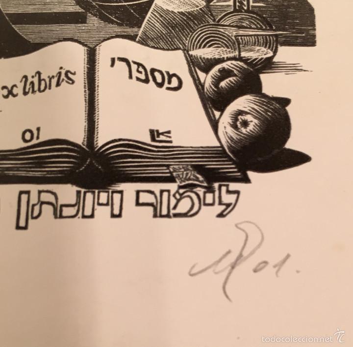 Arte: BOOKPLATE - EX LIBRIS - Leonid Kuris - Gendler - FIRMADO - 2001 - ISRAEL - HEBREO - MICROSCOPIO - Foto 2 - 57801536