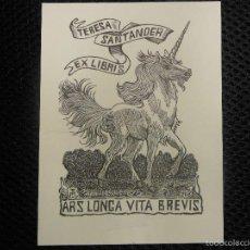 Arte: EX LIBRIS DE FRANÇOIS MARECHAL PARA TERESA SANTANDER EXLIBRIS OPUS 208 UNICORNIO. Lote 58391748