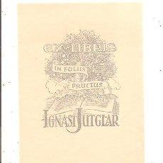 Arte: EX-LIBRIS DE IGNASI JUTGLAR. Lote 58738550