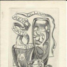 Arte: EX LIBRIS JULIO FERNÁNDEZ SÁEZ PARA RENE WATLLEZ. OPUS 205 10,50 X 14,50 CM. Lote 63030012
