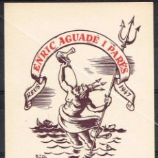 Arte: EXLIBRIS 1947 BON ROMÀ BONET SINTÉS PARA ENRIC AGUADES I PARÉS 7 X 9,30 CM.. Lote 63135824