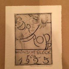 Arte: BOOKPLATE - EX LIBRIS - HERMANN BAUER - DR. WILLY TROPP WÜNSCHT GLÜCK FÜR 1925 - FIRMADO - 1924. Lote 63250620