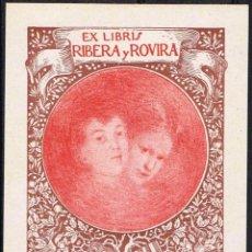 Arte: EXLIBRIS 1908 ANTONIO CARNICERO PARA RIBERA Y ROVIRA 7,50X10,20 CM.. Lote 63607328