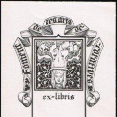Arte: EX LIBRIS TRIADÓ. PARA EL FOMENTO DE LAS ARTES DECORATIVAS OPUS 242. 7,80X10,10 CM.. Lote 64340091