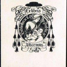 Arte: EXLIBRIS 1902 ALEXANDRE DE RIQUER PARA BIBLIOTECA EPISCOPAL 5,80X6,50 CM. Lote 64794947