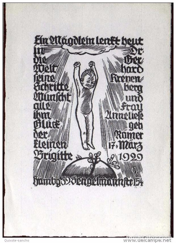 GIROEXLIBRIS.- 1929-PRECIOSO EX LIBRIS DE JOSUA LEANDER GAMPP AVISO DEL NACIMIENTO, (X2) (Arte - Ex Libris)