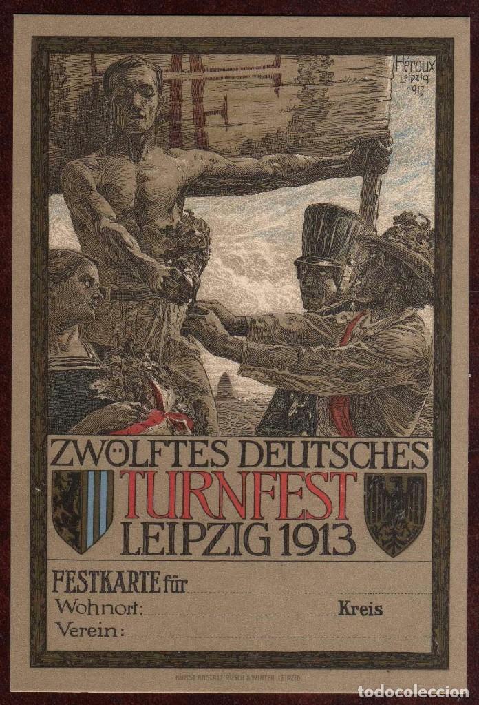 GIROEXLIBRIS.- POSTAL EN CARTÓN DEL XII DEUTSCHES TURNFEST - HEROUX (LEIPZIG) EN 1913 (Arte - Ex Libris)