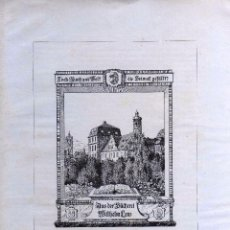 Arte: EXLIBRIS WILHELM LENZ EN 1918 CON UNA MEDIDA DE 14 X 20 CENTÍMETROS. Lote 64988043