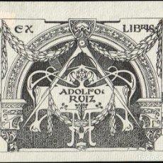 Arte: EX LIBRIS TRIADÓ PARA ADOLFO RUIZ. 11,20X8,20 CM.. Lote 65901006
