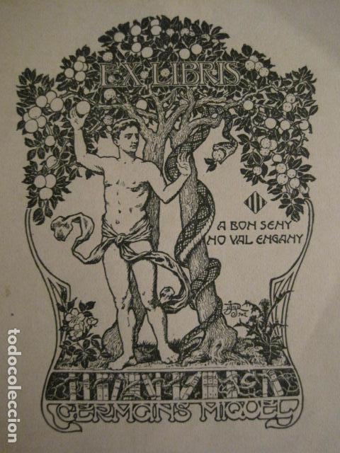 Arte: EX LIBRIS - GERMANS MIQUEL - MODERNISTA -VER FOTOS Y MEDIDA - (X-1563) - Foto 2 - 69271601