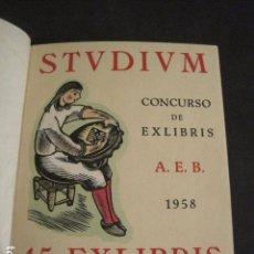 Arte: EX LIBRIS - STVDIVM - CONCURSO AÑO 1958 - LIBRO EXLIBRIS , FIRMAS - ETC... . -VER FOTOS-(X-1586). Lote 78889677