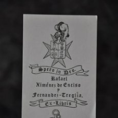 Arte: EX LIBRIS RAFAEL XIMENEZ DE ENCISO Y FERNANDEZ TREGLIA . Lote 80494805