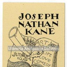 Arte: [EX LIBRIS. ISMAEL SMITH. 1919-1926] JOSEPH NATHAN KANE EX-LIBRIS. Lote 86345008