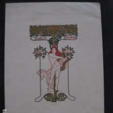 Arte: EX LIBRIS - EUDALT THOMAS - ALEXANDRE DE RIQUER -MODERNISMO -VER FOTOS-(X-1807). Lote 87257676