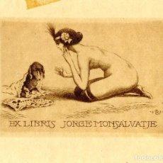 Arte: LANGBEIN, ROBERT. EX LIBRIS PARA JORGE MONSALVATJE. 1921. Lote 87683572