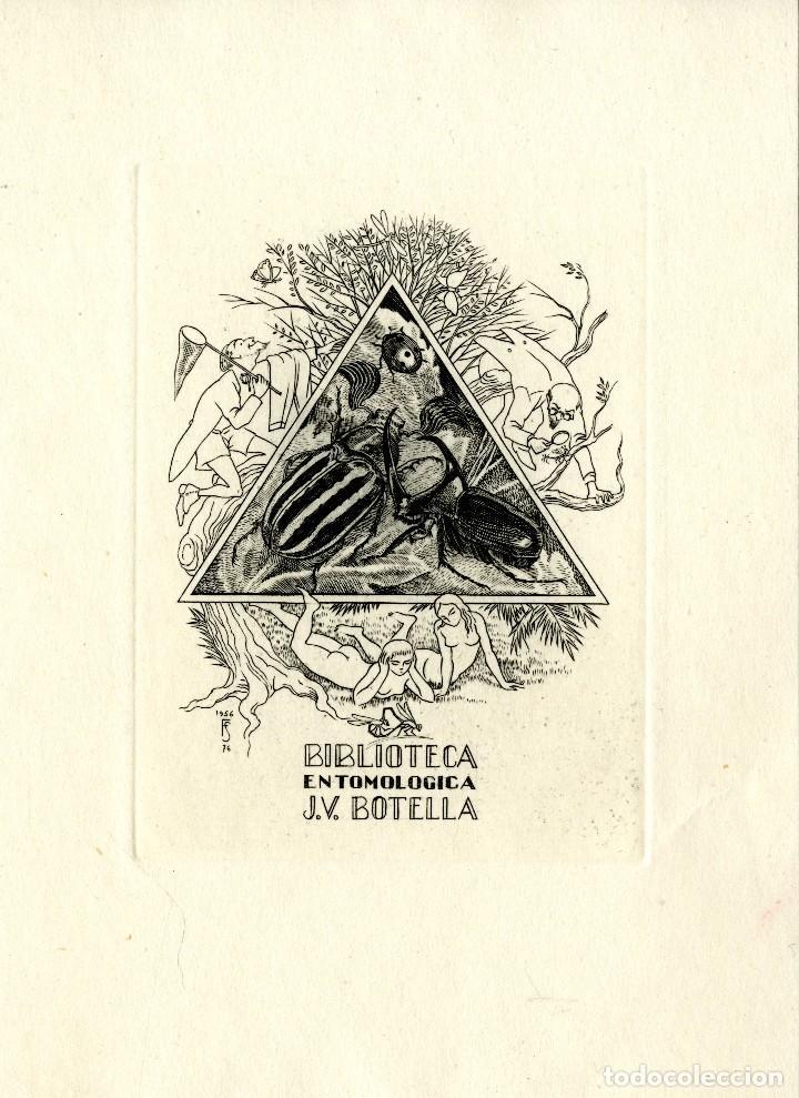 J. FERNÁNDEZ SÁEZ (1924-). BIBLIOTECA ENTOMOLÓGICA J. V. BOTELLA (Arte - Ex Libris)