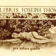 Arte: ALEJANDRO DE RIQUER (1856-1920) EX LIBRIS PARA JOSEPH THOMAS C. 1902. Lote 95551724
