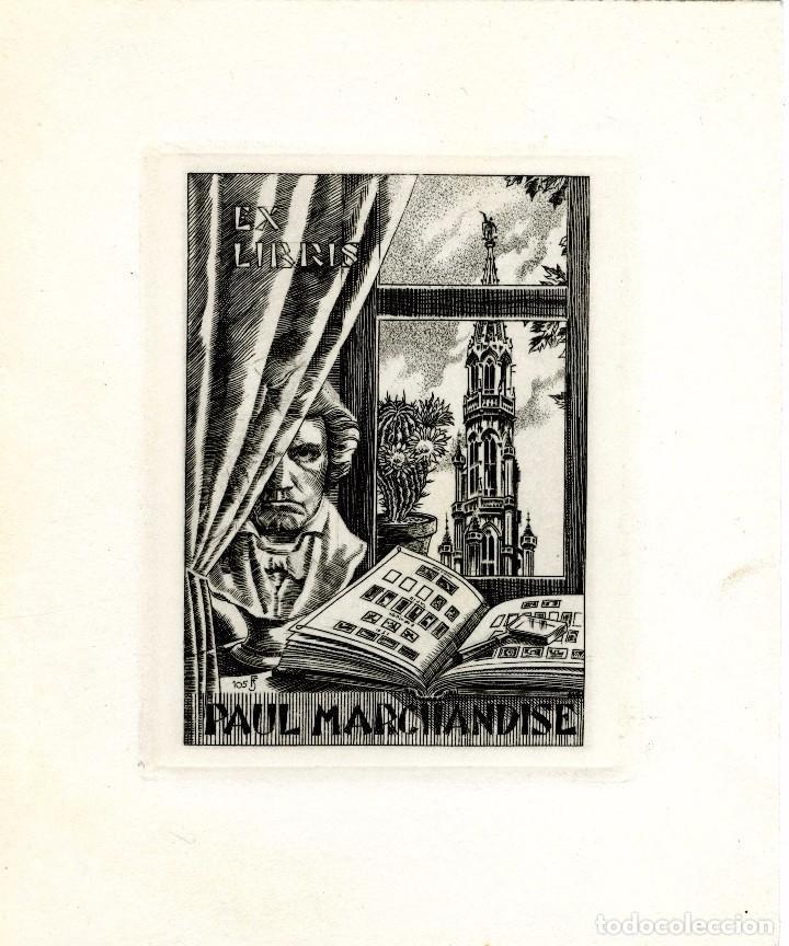 J. FERNÁNDEZ SÁEZ (1924-). EX LIBRIS PAUL MARCHANDISE (Arte - Ex Libris)